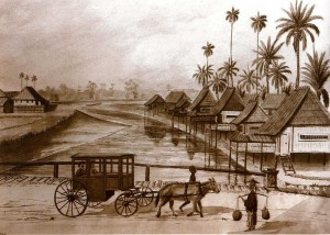 The earliest example of a traditional Malay house can be seen in a sketch of Kampong Rochor in 1846 by J.T. Thomson