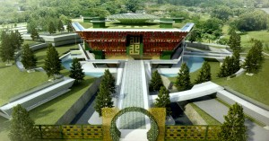 The proposed design of the Malaysian Chinese Muslim Association (MACMA) mosque showing the 'Moongate' archway entrance and a partial view of the pentagonal roof. (source: ATSA Architects)